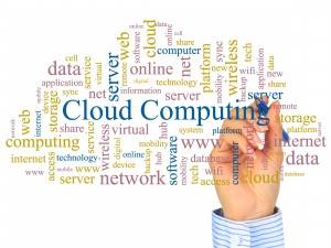 Cloud computing concept. Photo collage.