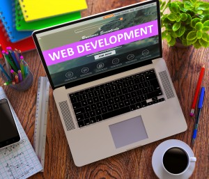 Web Development on Laptop Screen. Online Working Concept.